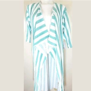 Lularoe Shirley Satin Striped Pleated Kimono